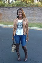 camel vintage Members Only jacket - dark brown Christian Louboutin boots