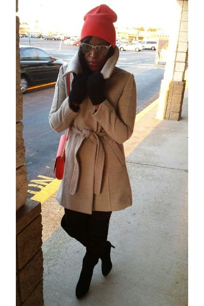 black Kelsi Dagger boots - silver H&M coat - carrot orange shoulder bag H&M bag