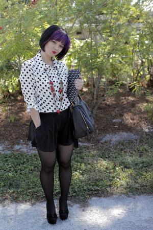 polka dots Kardashian blouse - seychelles heels