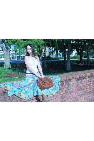 sky blue floral sky blue hand me down skirt - light brown Target boots