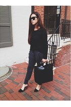 black Zara bag - black Zara pumps - gray Zara pants