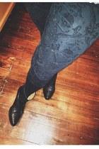 black Zara boots - black skull leggings Zara leggings