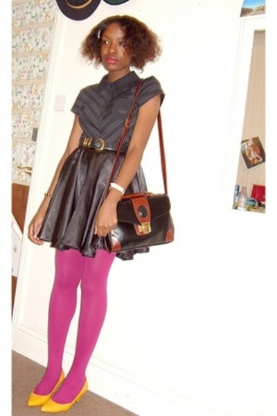top - skirt - tights - shoes - purse