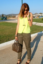 Zara pants - Louis Vuitton bag - Zara heels - Zara top - asoscom necklace