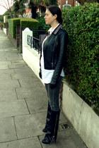 black Zara jacket - black Giuseppe Zanotti boots - charcoal gray J Brand jeans