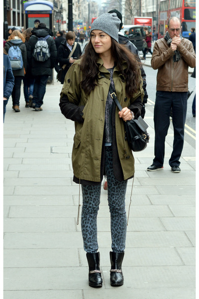 black ankle boots Elizabeth and James boots - Mango coat - parka EDUN coat