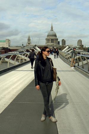 gray River Island sweatshirt - heather gray J Brand jeans - black Zara jacket