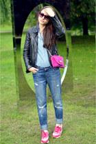 hot pink suide Emilio Pucci bag - teal boyfriend Zara jeans