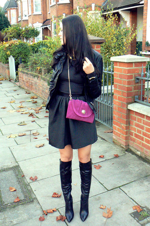 black over knee boots Kurt Geiger boots - black washed leather All Saints jacket