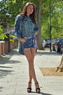 Teal-ralph-lauren-denim-shirt-teal-long-lee-shirt-teal-vintage-levis-shorts