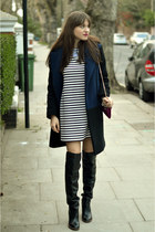 black over-knee Kurt Geiger boots - stripyshort H&M dress