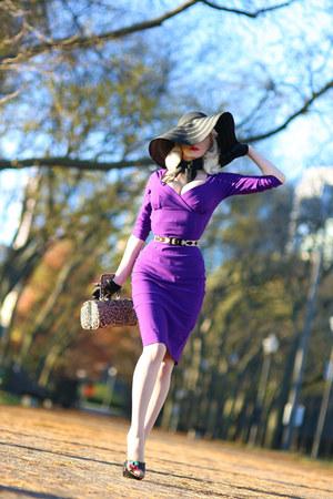 violet pencil Glamour Bunny dress - black sun hat Nordstrom hat
