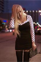 black chicnova dress - black romwe tights - white Lulus heels