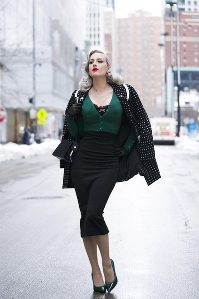 black polka dot OASAP coat - dark green winter Pollypop sweater
