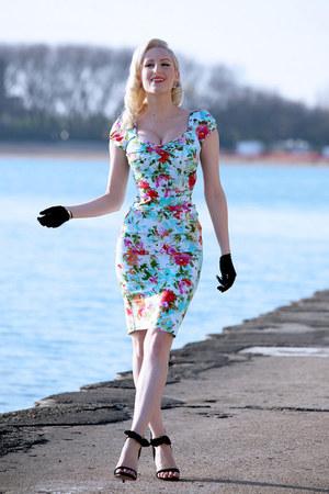 light blue floral print Stop Staring dress - black ankle strap Lulus heels