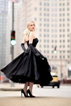 black velvet vintage bag - black satin unique vintage dress