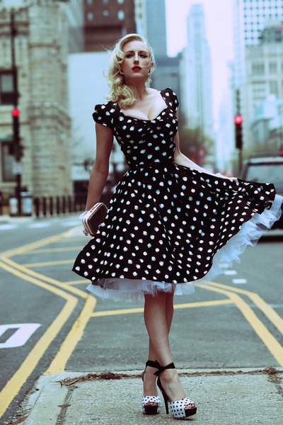 white ankle strap Lulus shoes - black polka dots Stop Staring dress