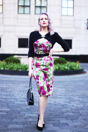 bubble gum floral Pinup Girl Clothing dress - black unique vintage bag