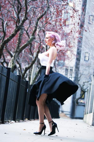 black midi Pinup Girl Clothing skirt - black unique vintage pumps