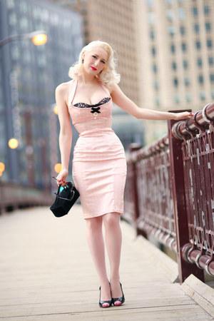 light pink Wheels and Dollbaby dress - black vintage bag