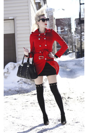 black ankle boots Sole Society shoes - red military sammydress coat