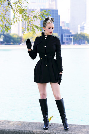 black wedges Sole Society boots - black trench OASAP jacket