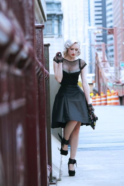 black mesh OASAP top - black bow old shoes - violet floral clutch Shop Roxx bag
