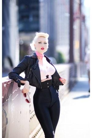 black leather Bebe jacket - bubble gum vintage scarf