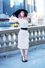 White-polka-dots-pinup-girl-clothing-dress-black-floppy-hat-forever-21-hat