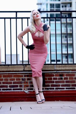 red gingham collectif dress - black ankle strap Charlotte Russe heels