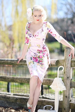 pink floral The Pretty Dress Company dress - white vintage shoes