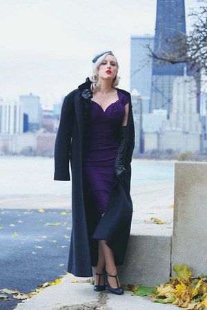 black leather Prada gloves - deep purple midi Stop Staring dress