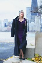 black leather Prada gloves - deep purple midi Stop Staring dress