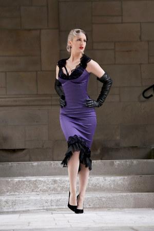 deep purple satin Pinup Girl Clothing dress - black leather Prada gloves