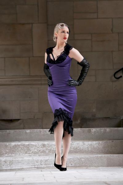 prada white replica - Deep Purple Satin Pinup Girl Clothing Dresses, Black Leather Prada ...