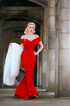 ruby red gown The Pretty Dress Company dress - white Faux Fur Stole accessories