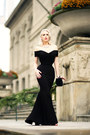 Black-gown-the-pretty-dress-company-dress-black-vintage-bag