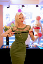 gold collar Agent Provocateur accessories - green pencil Tatyana Boutique dress