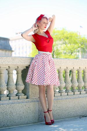 red unique vintage dress - red old heels