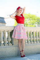 red unique vintage dress - red old heels