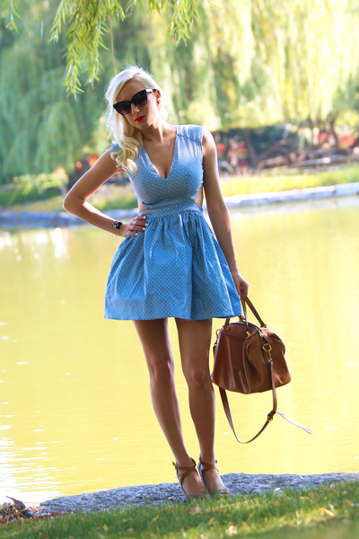 light blue cut out Lulus dress - brown leather rabeanco bag