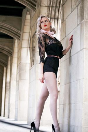 black lace OASAP romper - heather gray silkies stockings