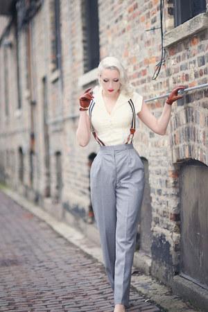 ivory unique vintage blouse - heather gray Atelier Jensen pants