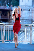 brick red pencil Pollypop dress - black clutch OASAP bag