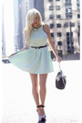 Aquamarine-lulus-dress-black-lulus-heels-black-bow-skinny-lulus-belt