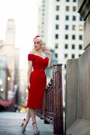 red pencil The Pretty Dress Company dress - sky blue custom Shoes of Prey heels