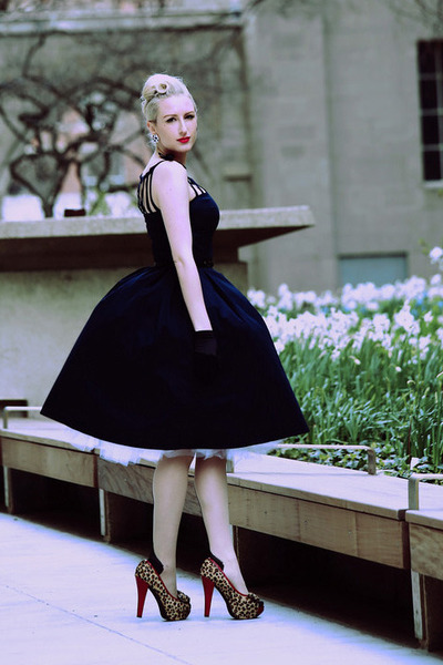black seamed Agent Provocateur stockings - navy midi e-Shakti dress