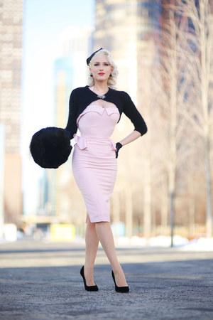light pink peplum Stop Staring dress - black fascinator Pillbox hat