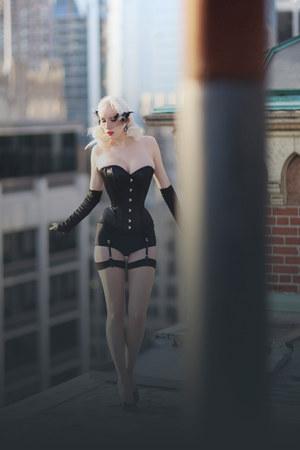 black corset corset story intimate - black veil Vintage Box 1947 accessories