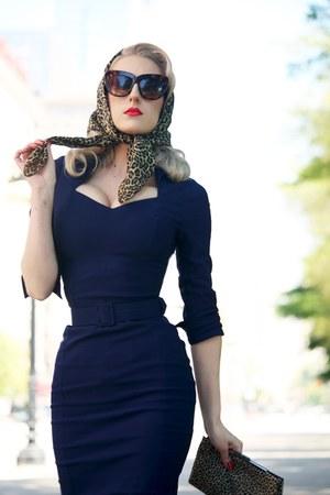 navy Pinup Girl Clothing dress - light brown silk vintage scarf